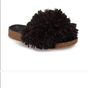 UGG Black Cindi Yarn Pom Sandals Slides New 7.5